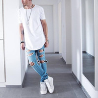 Summer Men Short Sleeve Extended Hip Hop T shirt Oversized Tyga Kpop Swag Clothes Men's Casual Sport Yeezus Streetwear Camisetas