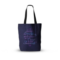 "Noonday Design ""Every Love Story Is Beautiful"" Blue Purple Everything Tote Bag"