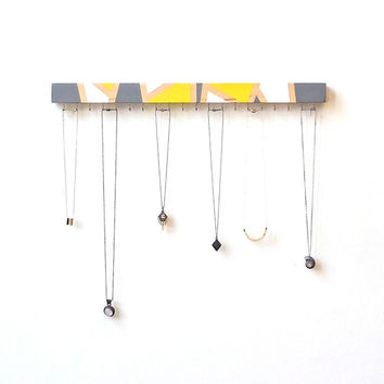 Wall Jewelry Organizer - Jewelry Holder Wall - Necklace Organizer, Wall Mount Jewelry Holder - Necklace Storage - Necklace holder - Yellow