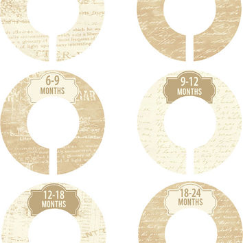 Custom Baby Closet Dividers Cream Calligraphy Shabby Gender Neutral Boy Girl Closet Dividers Baby Shower Gift Baby Clothes Organizers Baby