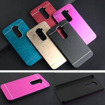 For LG G2 Case Luxury Brushed Metal Aluminium PC material case For LG Optimus G2 D802 D805 D801 D800 D803 LS980 phone case cover