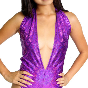 Purple Mermaid Scales Holographic Metallic Deep Plunge Rave Bodysuit