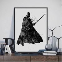 Original Watercolor Star Wars Darth Vader Pop Movie Poster Print Abstract Picture  Home Wall Art Canvas Painting No Frame Gift