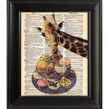 GIRAFFE Loves Cupcakes Cake Art Print Funny ORIGINAL Mixed Media Illustration Poster on Antique English Dictionary Book Page 8x10