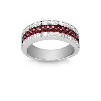 Ruby and CZ Micro Pave Ring