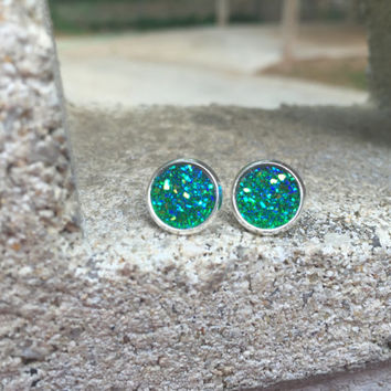 MONSTER SALE Earrings Druzy Stud Earrings Boho Jewelry Green Blue 10MM