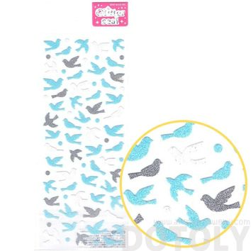 Birds and Doves Shaped Shimmer Decorative Stickers for Scrapbook and Crafts