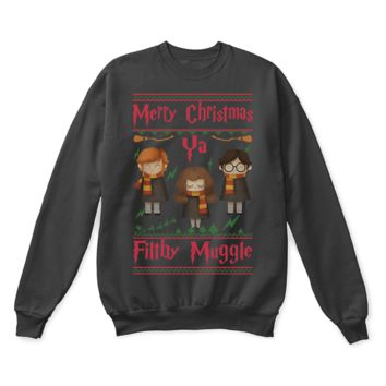 ESB8HB Merry Christmas Ya Filthy Muggle Harry Potter Ugly Sweater