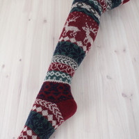 fair isle over the knee socks in burgundy