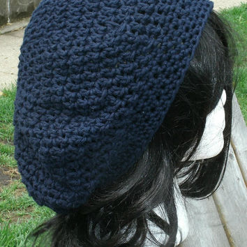 Hand Crocheted Hat - The Classic Slouchy Hat in Navy Blue Cotton- Womens Hat - Spring, Summer, Fall Accessories