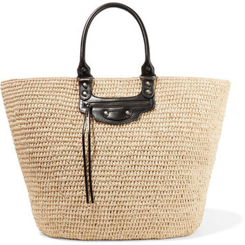 Balenciaga - Panier large leather-trimmed raffia tote