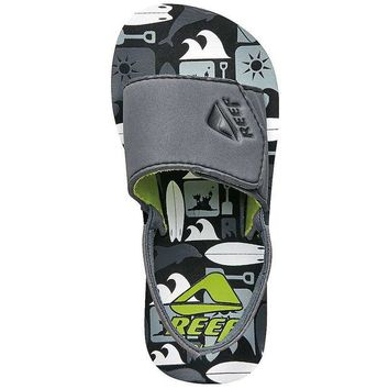 ONETOW Reef Boys' Grom Ahi Slide Sandals - 3 / 4 - Grey Boards
