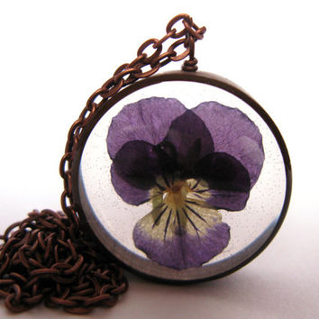 Pretty Purple Viola Pendant - Real Viola encased in resin with open back copper bezel