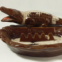 Vintage Florida Alligator Ashtray Souvenir Brown