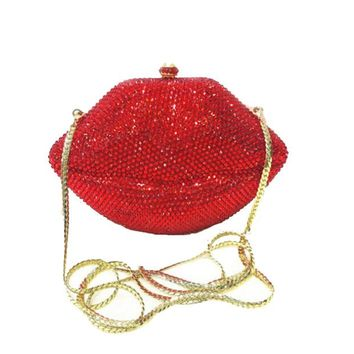 Lips Rhinestone Evening Clutch