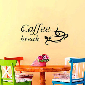 Coffee Wall Decal Quote Coffee Cup Stickers Vinyl Decals Coffee Break Art Mural Sweet Home Decor Cafe Interior Design Kitchen Decor KI91