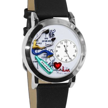 Respiratory Therapist Black Leather And Silvertone Watch
