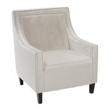 Silver Velvet Swoop Accent Chair with Nailhead Trim