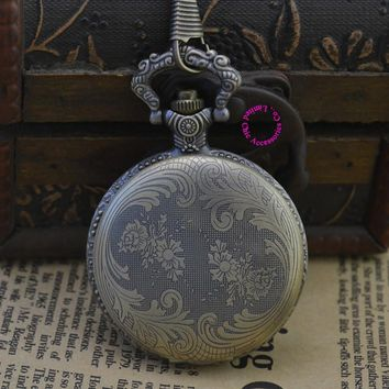 fashion quartz flower men pocket watch necklace man fob watches ancient classic vintage antique retro bronze style new arabic