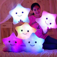 New Free Shipping Battery Powered Decorative 7 Flashing LED Light Plush Pink Smiling Star Cushion Pillow