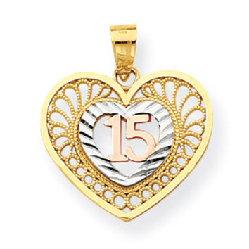 10k Two-tone & White Rhodium Sweet 15 Heart Pendant 10C972