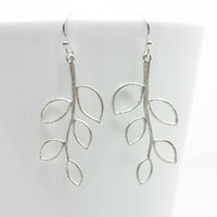 Branch Dangle Earrings Leaf Branch Drop Earrings Dainty Branch Pendant, bridesmaid gift, wedding jewelry, bridal, Also Available in GOLD