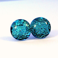 Sparkling Aqua Blue Dichroic Glass Earrings, Sterling Silver Jewelry, Gift For her