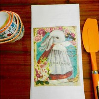 Bunny Rabbit Flour Sack Tea Towel Decorative Dressed Girl Rabbit