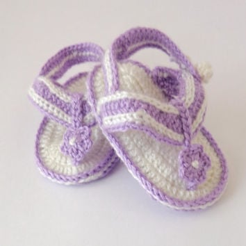 Purple Crochet Baby  Flower, Gladiator Sandals, Baby Crochet Sandals, Newborn Crochet Sandals, Infant Sandals Or Choose Your Color