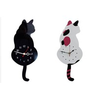 Creative Cute White or Black Wagging Tail Tick Tock Kitty Wall Clock