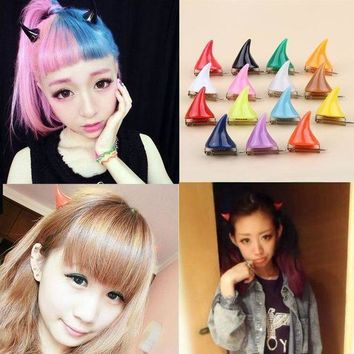 1piece!!cute Design 15 Colors Halloween Devil Horn Hairpin Girls Fashion Corner Hair Clip Hair Accessories Headwear 0086