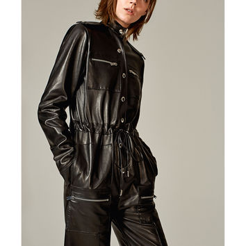 LONG LEATHER STUDIO JUMPSUIT DETAILS