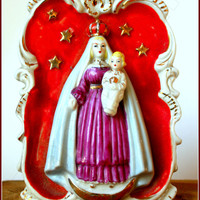 1910s porcelain wall applique Virgin and Child on crescent moon.  French or Spanish christian icon.