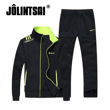 Jolintsai 2017 Men Sporting Suit Casual Tracksuit Letter Cool Hoodies Pant Men Skateboard Sweatshirt Jogger Set Sweatsuits