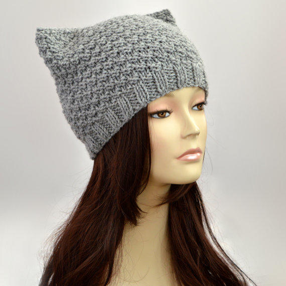 Free Knitting Pattern Hat With Ears : Grey Cat Hat, Knit Cat Ear Hat or Cat from SlouchyBeanie ...