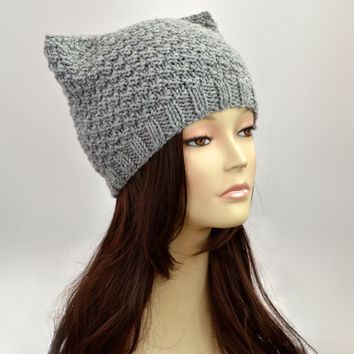 Grey Cat Hat, Knit Cat Ear Hat or Cat Beanie, Grey Womens Cat Hat or Mens Cat Hat