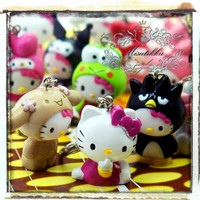 6 PCS Assorted Sets: kitty Pendant Charm Key Chain Resin Cabochon -Kawaii Miniature Kit Deco Den Mini Craft Jewelry Material Supply (HM.M6)