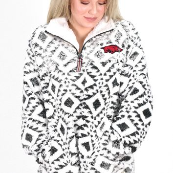 Quarter Zip Arkansas Razorback Tribal Sherpa {Charcoal}