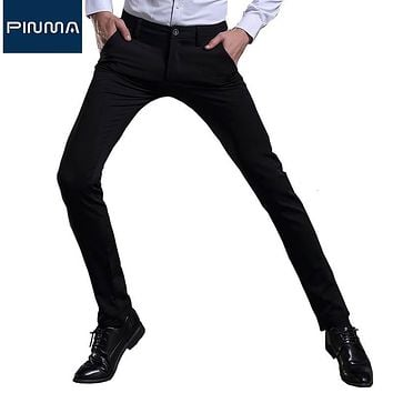 new men trouser workout pants stretch design brand full long dress pant male work business clothes korean navy blue trousers 430