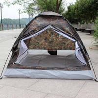 Portable Tent 2 Person Single Layer Tent Hiking Camouflage for Outdoor Camping