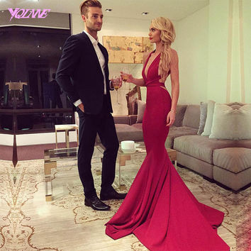 2017 Sexy Red Mermaid Prom Dresses Long Backless Evening Gown Deep V-Neck Silk Satin Formal Women Dress