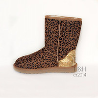 Women's Classic UGG boot in Chestnut Leopard with approx.1500 Golden Shadow Swarovski crystals