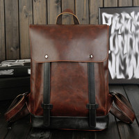 fashion retro coffee leather backpack gift