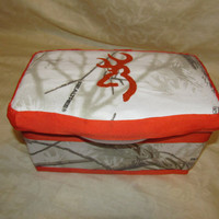 New Handmade realtree snow white orange browning inspired large tub nursery wipes case  you choose name and large letter