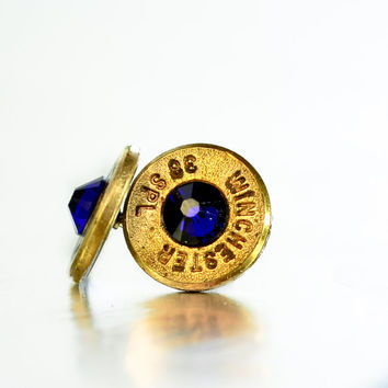Bullet Stud Earrings - Brass and Cobalt Blue