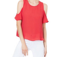 Chiffon Loose Fit Cut Out Shoulder Short Sleeve Blouse Top (CLEARANCE)