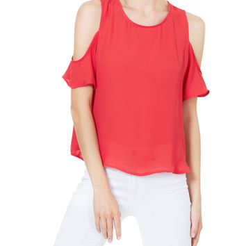LE3NO Womens Chiffon Loose Fit Cut Out Shoulder Short Sleeve Blouse Top (CLEARANCE)