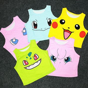 Women's Bustier Crop Top Sexy Camisole 3D Pokemon cartoon Print cropped tank Top
