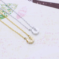 Tiny Horse shoe  necklace in  silver or gold tone