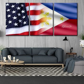 Team US 3 panel modular modern style USA and Philippine flag poster HD print on canvas home living room wall cuadros art decor painting